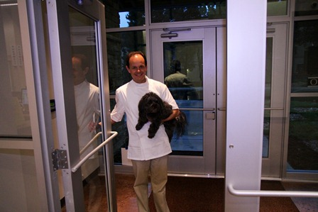 Dr. Schaaf with Hugo Our First Patient in the New Building